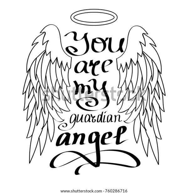 You My Guardian Angel Black On Stock Vector Royalty Free 760286716