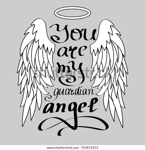 You My Guardian Angel Black On Stock Vector (Royalty Free