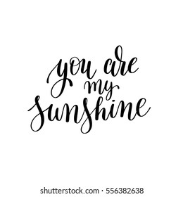 you are my sunshine black and white hand written lettering phrase about love to valentines day design poster, greeting card, photo album, banner, calligraphy text vector illustration