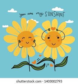 You are my sunshine couple sunflowers cartoon vector illustration doodle style