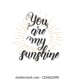 You are my sunshine - Hand made inspirational and motivational quote isolated on white. Lettering calligraphy phrase. Happy Valentine's Day.