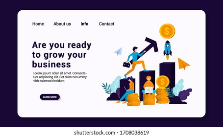 are you ready to grow your business landing page template with business human group concept, flat design. vector illustration