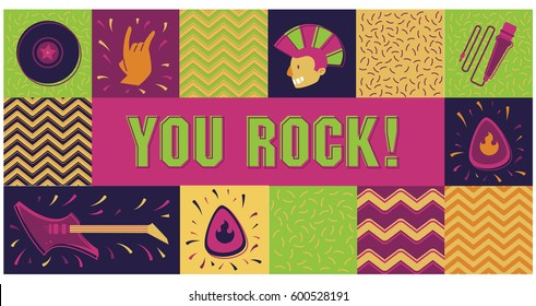 You Rock Card with Punk Boy Horizontal layout