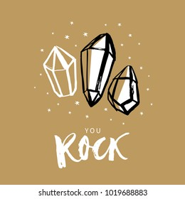 You Rock! Valentines day calligraphy gift card. Diamonds and stars. Hand drawn design elements. Handwritten modern brush lettering. Vector illustration.
