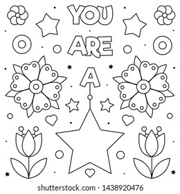 You are a star. Coloring page. Black and white vector illustration