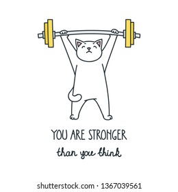You are stronger than you think. Illustration of athletic cat exercising with barbell isolated on white background. Vector 8 EPS.