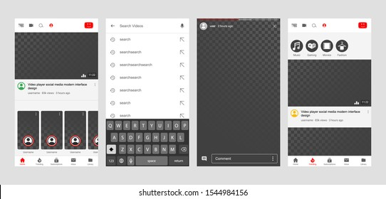 You tube Video player Screen interface in social media application. Video frame design app post template. Vector mock up illustration