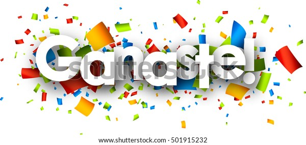 You win paper banner with color confetti, Spanish. Vector illustration.