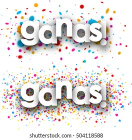 You win paper banners with color drops, Spanish. Vector illustration.