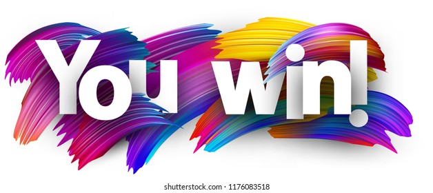 you win poster colorful watercolor brush stock vector royalty free