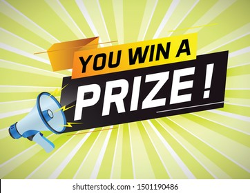 You win prize word concept vector illustration with megaphone and 3d style for use landing page, template, ui, web, mobile app, poster, banner, flyer, background, gift card, coupon, wallpaper