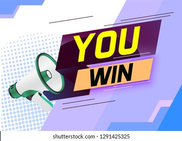 You win word concept vector illustration with megaphone and 3d style, landing page, template, ui, web, mobile app, poster, banner, flyer, background, gift card, coupon, label, wallpaper