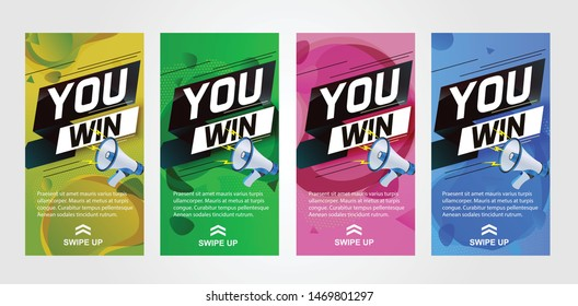 You win word concept vector illustration with megaphone and 3d style for use Instagram, template, whatsapp stories, web, mobile app, poster, banner, background, gift card, coupon, label, wallpaper