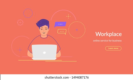 Youg man working with laptop at his work desk typing on keyboard. Modern line vector illustration of e-learning and students studying at home. People working with laptop on coral background