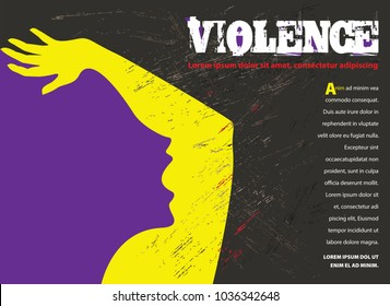 Young abused woman trying to protect herself from violence. Stand your ground concept. Simple, negative space design. Vector illustration and photo image available