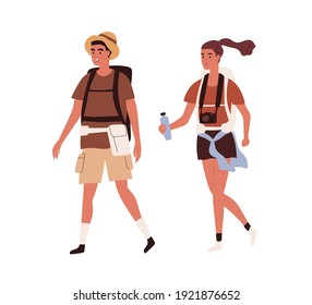 Young active couple traveling together with backpacks on summer holidays. Happy tourists walking with bags, camera and water. Colored flat vector illustration of travelers isolated on white background