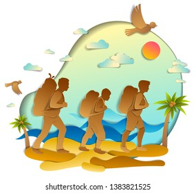 Young active family hiking to wild beach with sea ocean waves and palms, father, mother and son. Vector illustration of beautiful scenic seascape, birds in the sky, summer holidays.