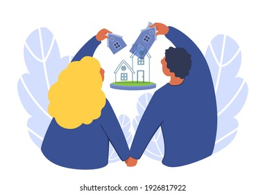 The young adult couple planning a new house together.  Family building new home concept. Creation of housing. A vector cartoon illustration.