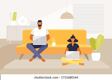 Young adult couple work at home on a sofa with laptops. Remove work and freelance. Vector cartoon characters. Illustration in flat design.