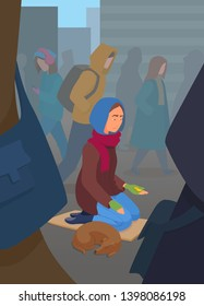 Young adult woman beggar on the crowded street, asking for money with her hand out. Panhandler, pauper, penury, indigent lifestyle. A lonely bankrupt person in despair. Unemployed hobo with a dog.