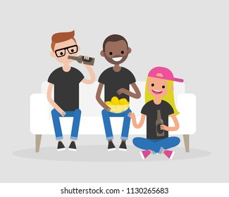 Young adults gathering together, drinking beer and eating snacks. Modern Lifestyle. Flat editable vector illustration, clip art. Friends having fun. Friday night. Weekend.