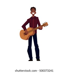 Young African American male guitar player, cartoon vector illustration isolated on white background. Full height portrait of black man with a wide smile playing guitar