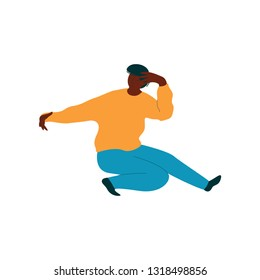Young African American Man Dancing, Male Dancer Character Wearing Casual Clothes Vector Illustration