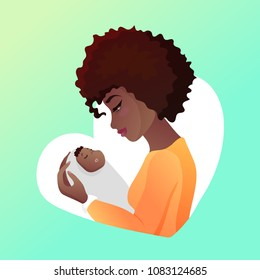 Young african american mother with baby in her hands. Looking an infant and smilling, child sleeps. Character design for Mother s day greeting cards. Vector illustration isolated on white.