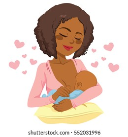 Young African American mother holding her newborn baby child in her arms breastfeeding