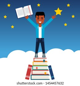 Young African American on pile of books reaching out for the star. Achieving goals through education.Reading,learn,path to success,power of knowledge,reaching new heights, concept. Vector illustration