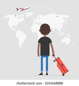 Young african american traveler looking at the map, back view. Flight. Destination. Tourism. Flat editable vector illustration, clip art
