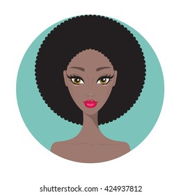 Young African American woman Beautiful girl portrait with perfect makeup