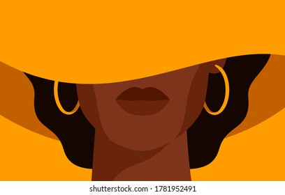 Young African American woman with black curly hair in the yellow hat with a wide brim covering her face. Black strong girl on yellow background, front view. Vector illustration
