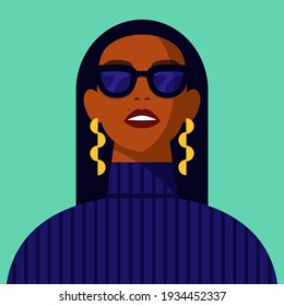 Young African American woman with black hair wearing glasses, potrait Black strong girl vector