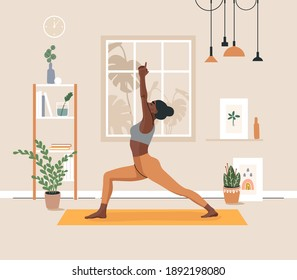 Young african american woman doing yoga exercises, practicing meditation and stretching on the mat. Black female character in yoga studio or home. Trendy flat vector illustration.