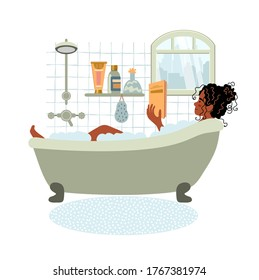 Young african american woman relaxes in bath and reads book. Daily life and everyday routine. Girl is in cozy bathroom. Cartoon vector illustration in flat style.