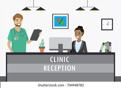 Young african american woman sitting at clinic reception desk and smile caucasian male doctor. cartoon flat vector illustration