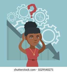 Young african bankrupt woman clutching head on the background of chart going down. Bankrupt woman with question above head. Concept of business bankruptcy. Vector cartoon illustration. Square layout