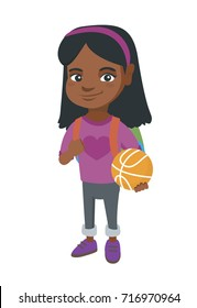 Young african cheerful schoolgirl with backpack holding a basketball ball. Full length of little schoolgirl with a basketball ball. Vector sketch cartoon illustration isolated on white background.