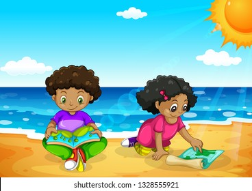 Young african kids at the beach illustration