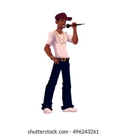 Young African male singer holding a microphone, cartoon vector illustration isolated on white background. Full height portrait of black man in baseball cap, rap, hip-hop singer