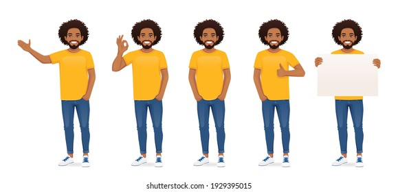 Young african man in casual clothes standing with different gestures set isolated vector illustration