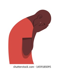Young African man in despair. The guy in profile is under great stress. Nervous breakdown. Depressive disorder. Vector illustration in flat style.