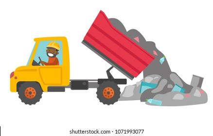 Young african man driving a garbage truck and unloading waste on a rubbish dump. Worker dumping the rubbish on a landfill. Vector cartoon illustration isolated on white background. Horizontal layout.