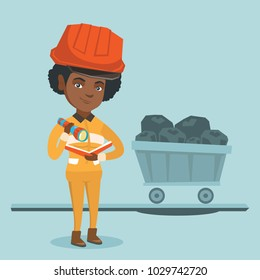 Young african miner in hard hat checking documents with flashlight on the background of trolley with coal. Miner with documents standing in the coal mine.Vector cartoon illustration. Square layout.