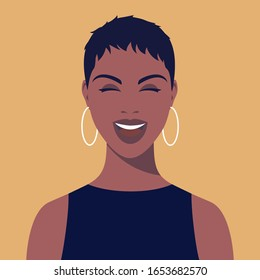 Young african smiling woman with short hair and earrings. Portrait of beautiful african woman. Avatar happy girl smiles. Abstract female portrait, full face. Stock vector illustration in flat style.