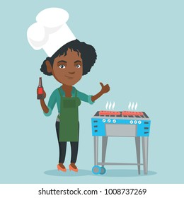 Young african woman in chef hat holding a bottle of beer and cooking steak on the barbecue. Woman cooking steak on the barbecue outdoors and giving thumb up. Vector cartoon illustration. Square layout