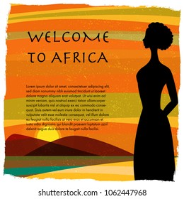 Young african woman looking at sunset on the beach.Vector illustration.