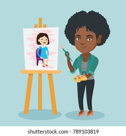 Young african woman painting a female portrait on canvas. Artist painting on an easel with a brush and watercolor paints. Artist working on a picture. Vector cartoon illustration. Square layout.