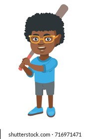 Young african-american boy playing baseball. Happy smiling baseball player holding a wooden baseball bat. Little softball player. Vector sketch cartoon illustration isolated on white background.